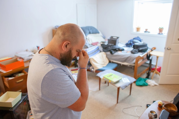 man is stressed without renters insurance